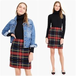 NWT J CREW TARTAN LUREX STEWARD PLAID MINI SKIRT
